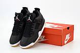 Кроссовки мужские Nike Air Jordan 4 Retro Black Laser в стиле найк джордан Черные (Реплика ААА+), фото 5