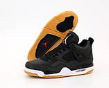 Кроссовки мужские Nike Air Jordan 4 Retro Black Laser в стиле найк джордан Черные (Реплика ААА+), фото 6