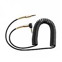 Кабель AUX Audio DC3.5 папа-папа 1.5м пружина, CCA Stereo Jack, (круглый) Black cable, Box