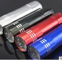 Карманный фонарик, 9LED, 1 режим, корпус- алюминий, питание 2*АА, 81*20мм, Silver, ОЕМ