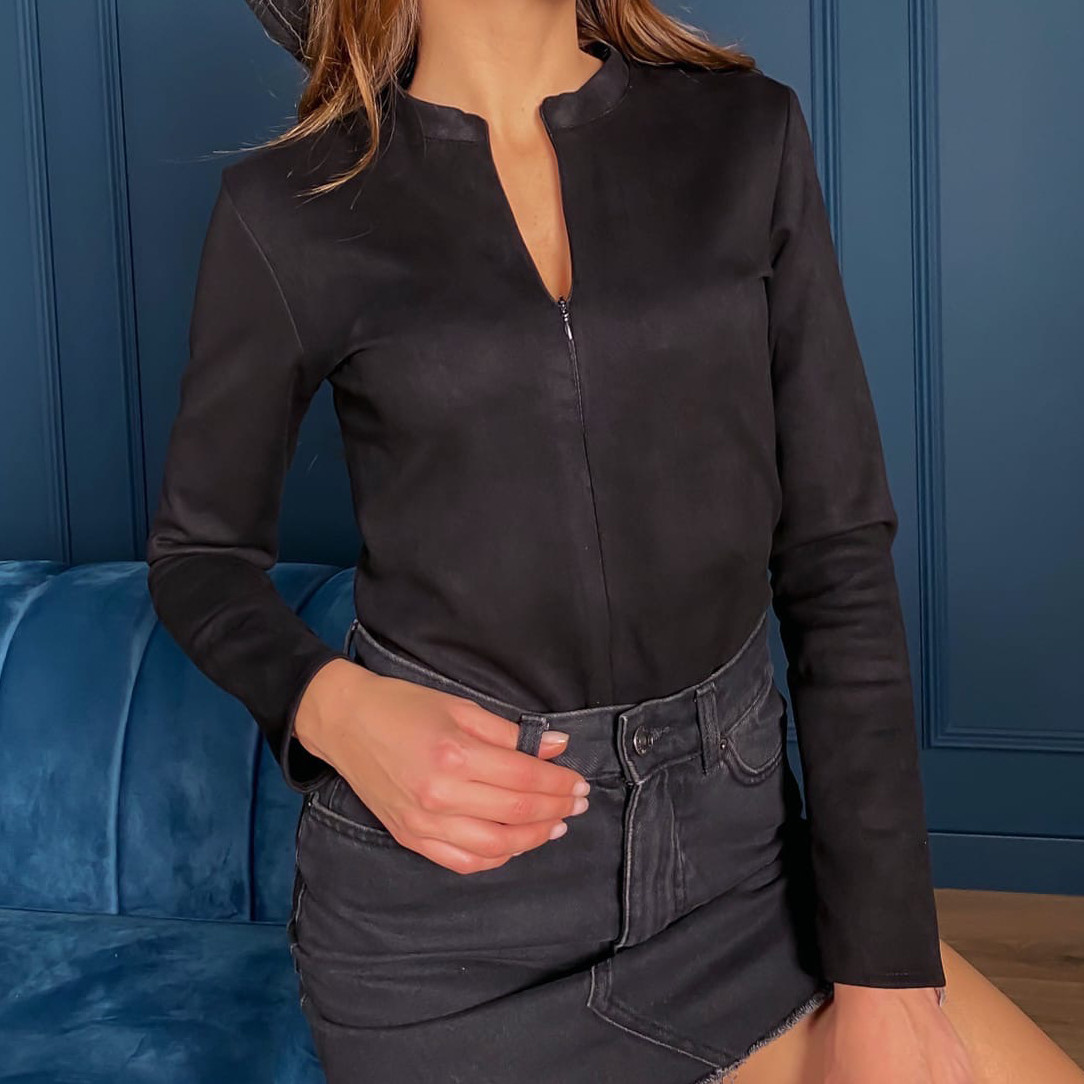 Женское замшевое чёрное боди