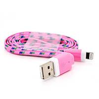 Кабель data Iphone5/5s/5C - Ipad 4, 1m, (плоский) в оплетке, Pink, ОЕМ Q100