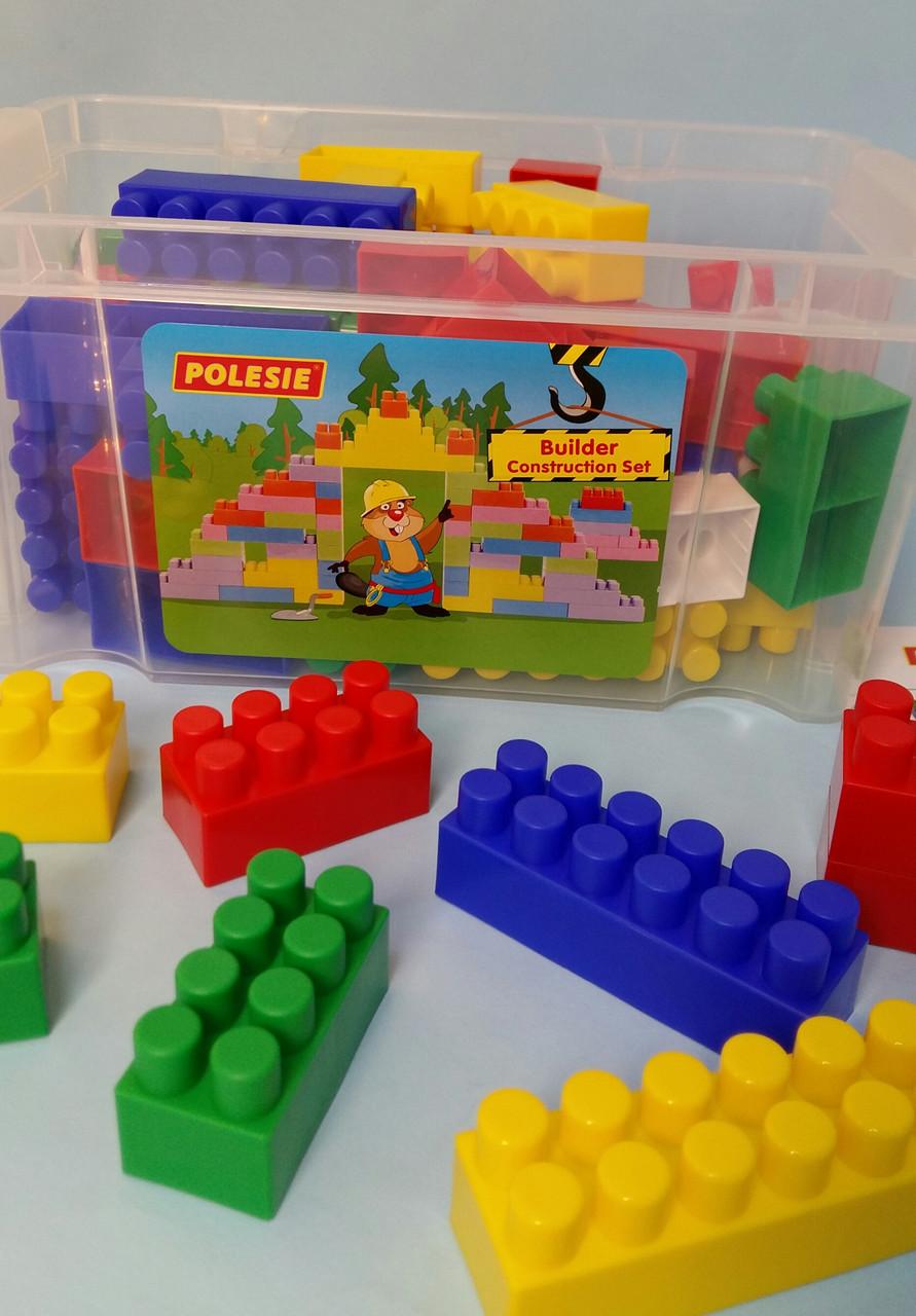 Конструктор Строитель 60 элементов, Полесье, Детский блочный конструктор в контейнере  50465