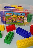 Конструктор Будівельник 60 елементів, Полісся, Дитячий блоковий конструктор в контейнері 50465, фото 1
