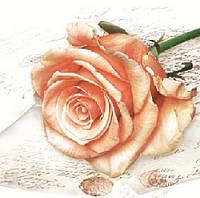 """Салфетки для декупажа """"Большая роза персиковая"""" 33*33 см №9"""