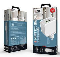 Набор 2 в 1 СЗУ With Micro-Usb Cable 110-240V MY-A203, 2 x USB, 5V/12W, Output: 5V/2.4A, White, Blister- box