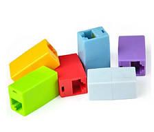 З'єднувач RJ45 8P8C мамо/мама RJ45 для з'єднання кабелю, зелений, упаковка100шт, ціна за упаковку