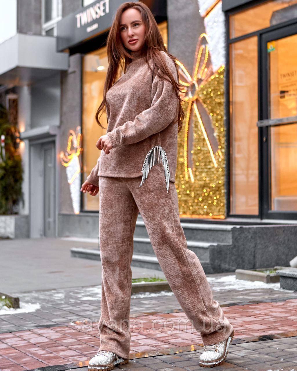 Жіночий теплий костюм з люрексом і поясом, в кольорах. МБ-2-1220