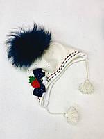 Шапка для девочки (52-54)р с натуральным помпоном Nikola Украина 6547, фото 1