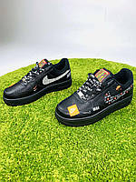 Женские  кроссовки в стиле Nike Air Force 1 x Off-White Low Just Do It Pack черные, фото 1