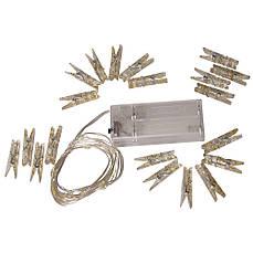 Гирлянда Xmas 7282 20 LED WW c зажимами и коробочкой для батарей, желтый свет