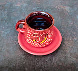 Філіжанка з блюдцем декор Серце червона, фото 2
