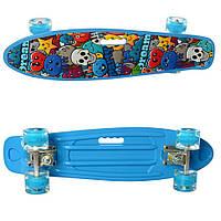 Детский скейт пенни-борд Maxlend голубой с рисунком антискользящий. Подарок для спортивных детей