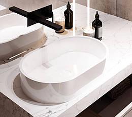 Раковина з литого мармуру Sorrento 550*350*112 глянцевий, білий ТМ Miraggio