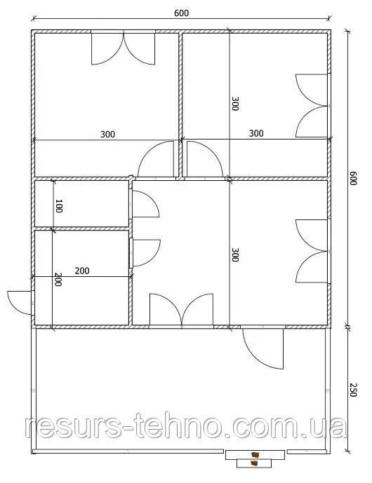 Дом 6м х 6м с терассой.