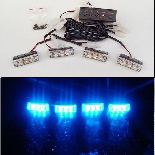 Стробоскоп мигалка для авто спец сигналы в радиаторную решетку 4 шт. ДХО Лампы Синий