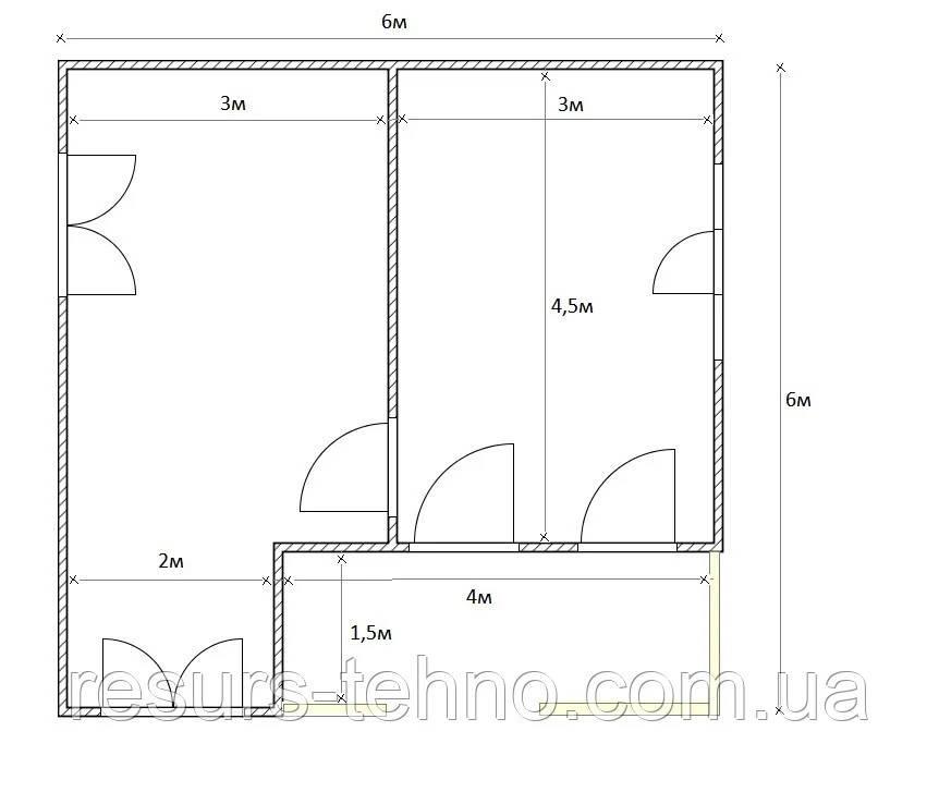 Дом 6м х 6м с внутренней терассой  1,5м х 4м