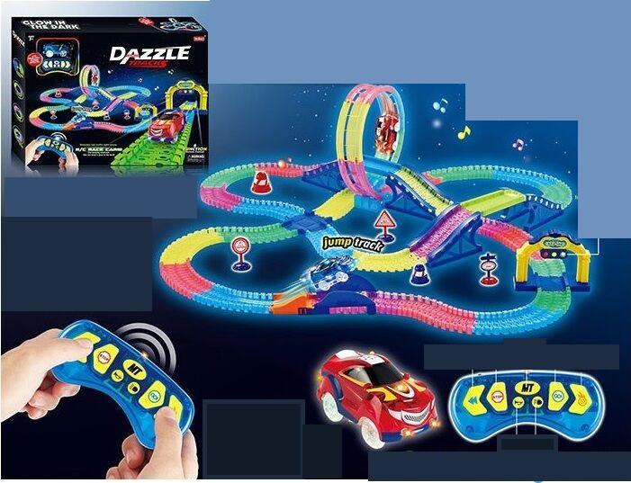 Дитячий, яскравий гоночний трек з пультом управління і машинкою яка світиться Dazzle Tracks 158 (331 деталь)