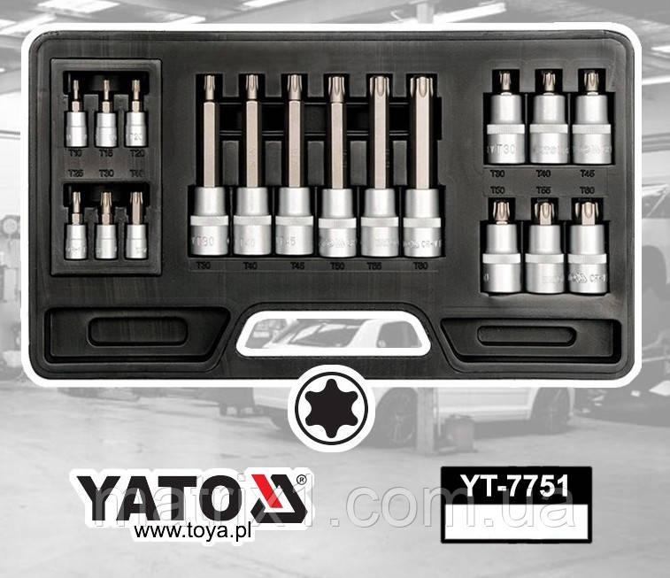 """Набор торцевых головок YATO 1/2"""" И 1/4"""" с насадками TORX 18 предметов"""