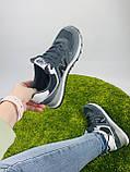 Жіночі кросівки в стилі New Balance 574 сірі з білим, фото 3