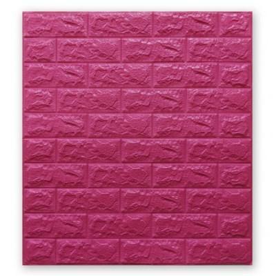 Мягкие 3D панели 700x770x7мм (самоклейка) Темно-Розовый Кирпич