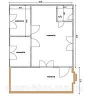 Будинок 6м х 6м з терасою 6м х 2,5 м