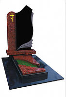 Памятник из гранита черного габбро Букинского месторождения и красного Капустянского месторождения.
