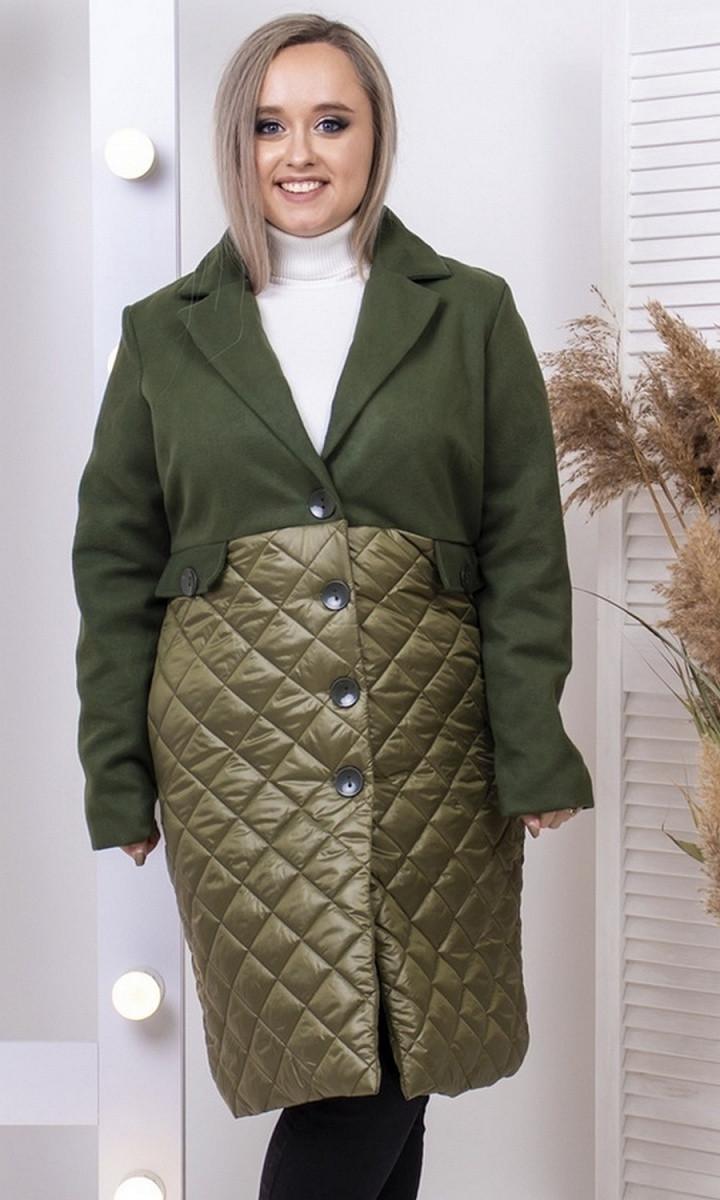 Женское демисезонное комбинированное пальто большого размера хаки