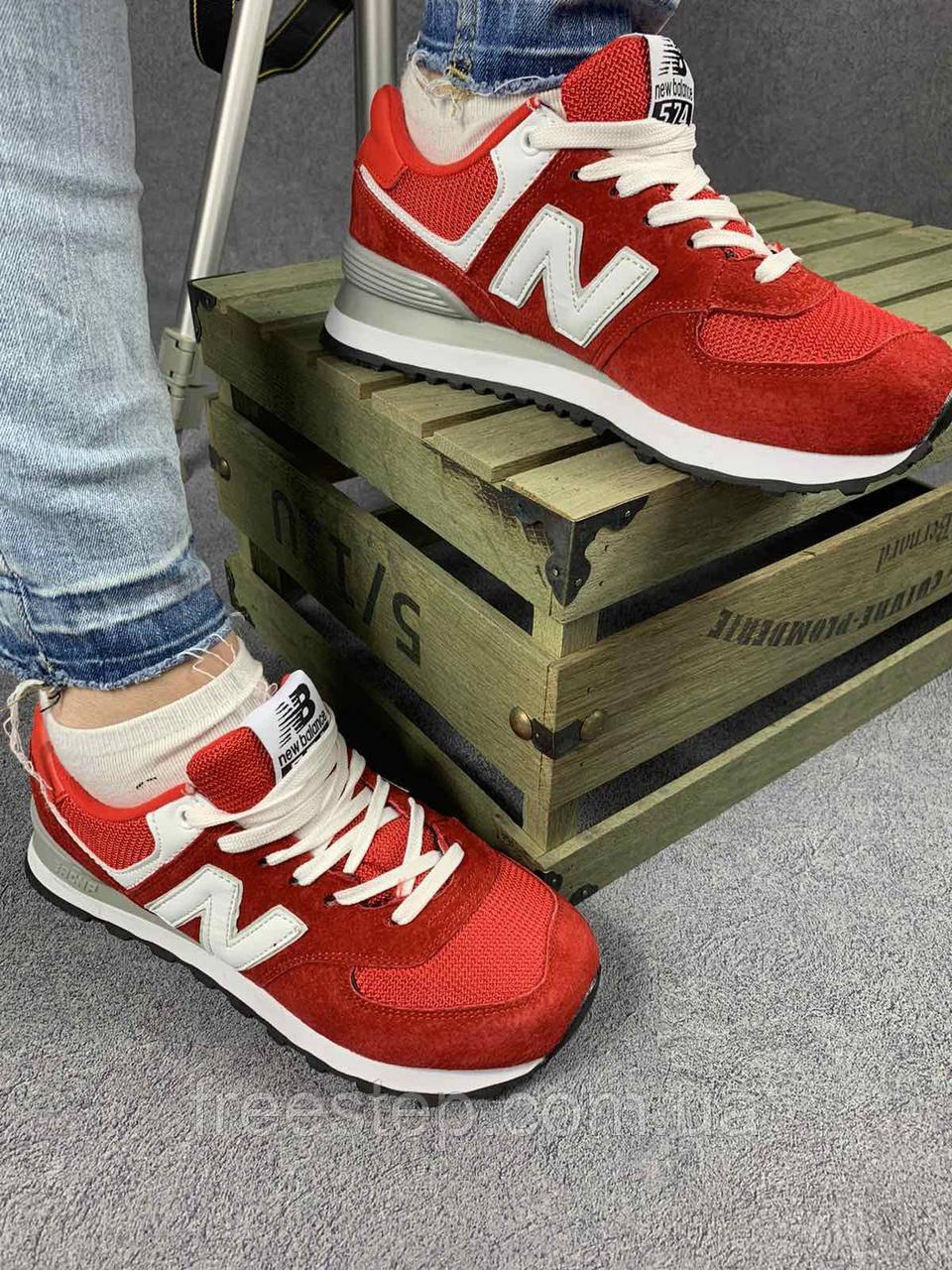 Жіночі кросівки в стилі New Balance 574 червоні