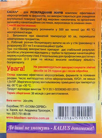 Біодеструктор Каліус біопрепарат для розкладання жирів (20 гр), Біохім-Сервіс, фото 2