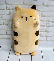 Подушка кот плюшевый, персикового цвета 40х20х14 см, мягкая игрушка кот для сна | подушка кіт для ді
