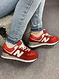 Жіночі кросівки в стилі New Balance 574 червоні, фото 10