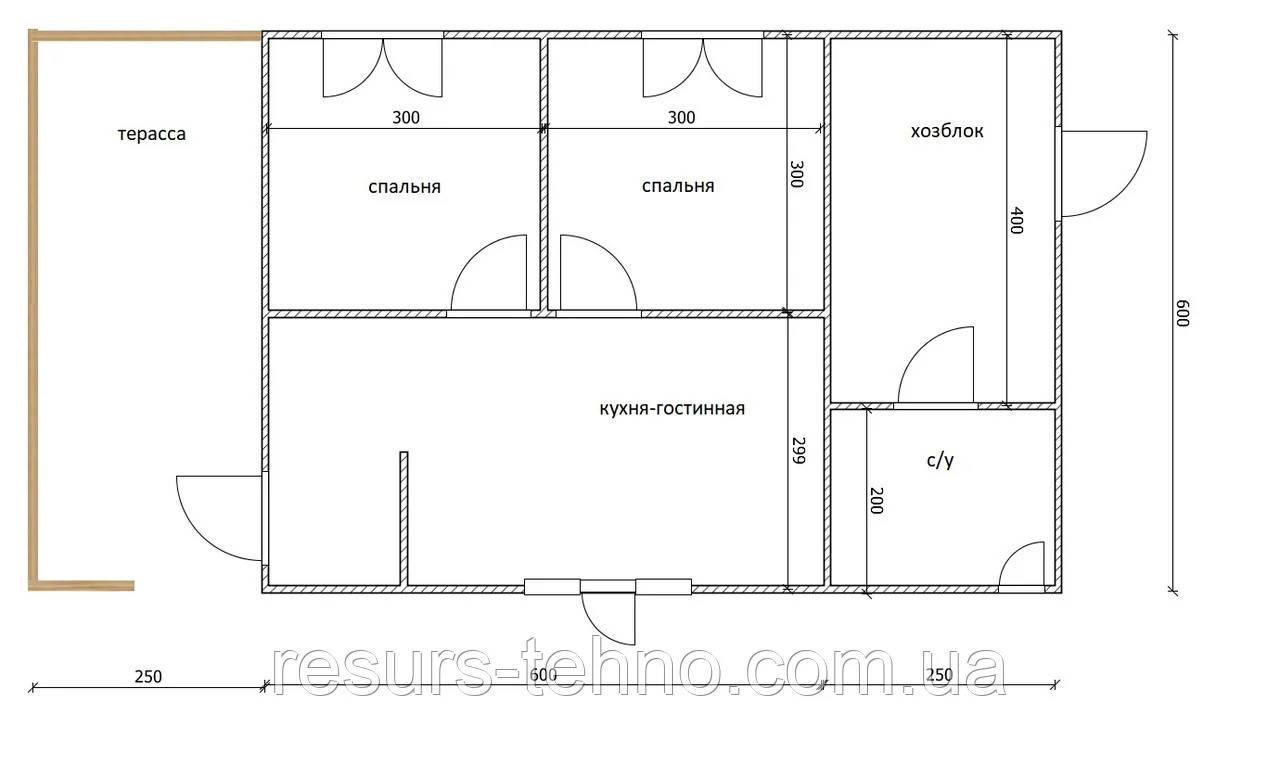 Дом 6м х 6м с терассой и хозблоком