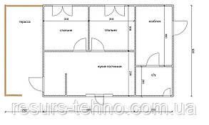 Будинок 6м х 6м з терасою і господарчим блоком