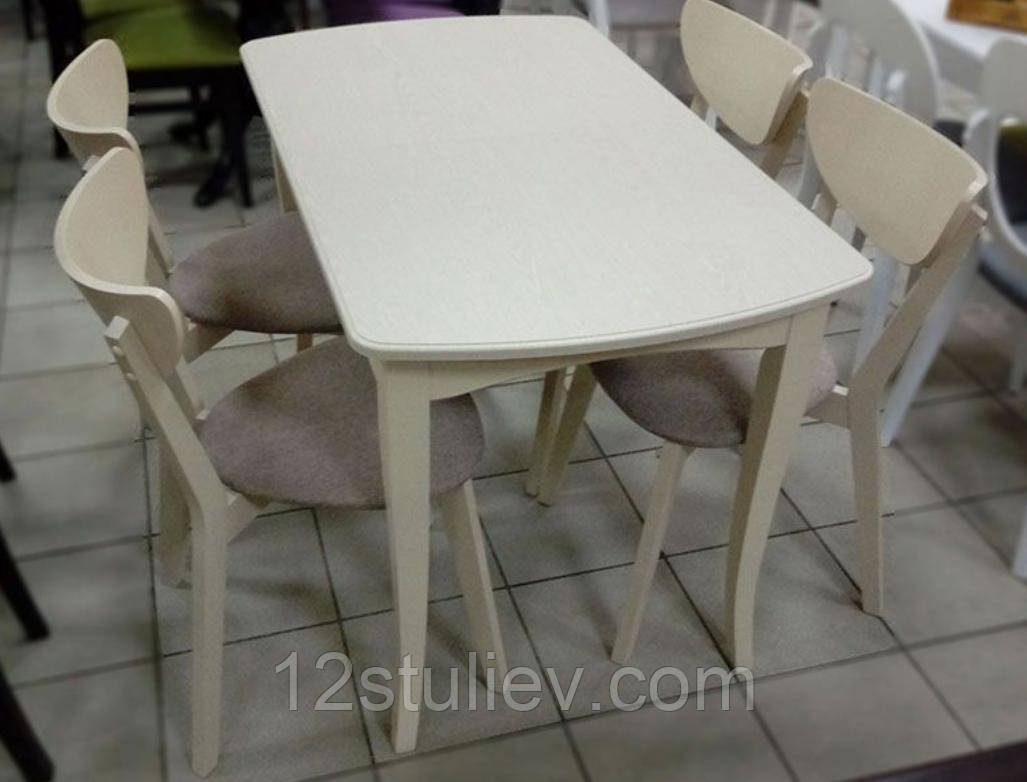 Комплект Бежевый Раскладной Милан + 4 стула Модерн Беж