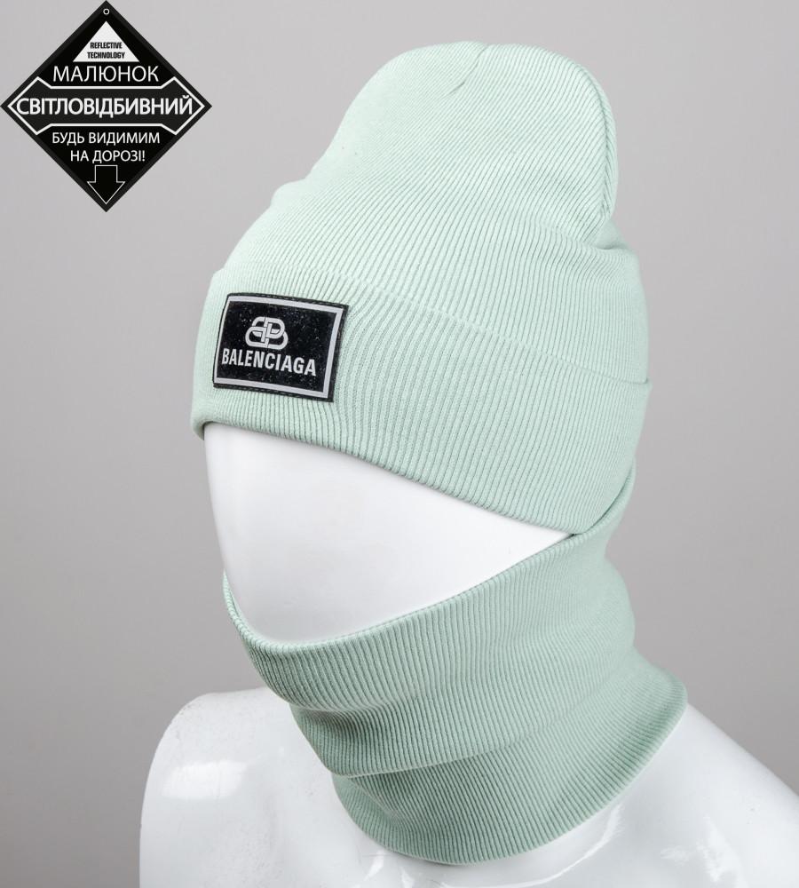 Комплект шапка и бафф Balenciaga опт (20222), Мята