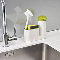 Диспенсер для моющего средства с подставкой для губки SinkBase Белый (op640459407)