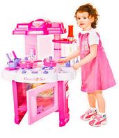 Детская игровая кухня 008-26 с аксессуарами, звуковые эффекты, подсветка, на батарейках