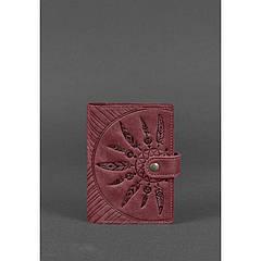 Женская кожаная обложка для паспорта 3.0 Инди бордовая