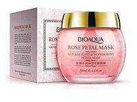 Маска BioAqua ночная увлажняющая для лица с лепестками роз ROSE PETAL МАСК, 120г.