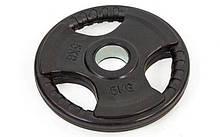 Блин (диск) обрезиненный 5кг с тройным хватом и металлической втулкой d-52мм TA-8122- 5 (черный)