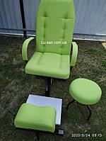 Кресло педикюрное, подставка для ног, стул мастера, Салатовый педикюрный комплект, фото 1