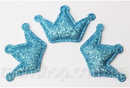 Корона в глиттере голубая