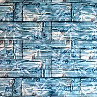 3D панель самоклеющая Обои под декоративный бамбук Самоклейка 3Д бамбуковые панели для стен бирюзовые