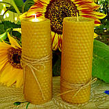 Цилиндрическая восковая свеча D45-70мм из натуральной вощины (натуральный пчелиный воск), фото 2