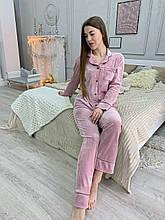 Пижама костюм для дома пудра плюш бархат рубашка + штаны