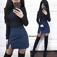 Женская замшевая юбка Лиза (хаки, темно-синий, марсала, черный, капучино, С и М), фото 1