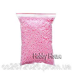 Шарики пенопластовые  2-4 мм,1000 мл, Розовые, для слаймов и декора.