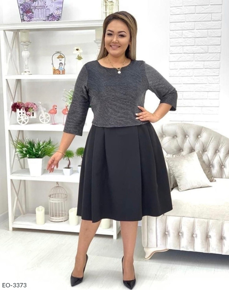 Нарядное платье с рукавом до локтя (Батал)