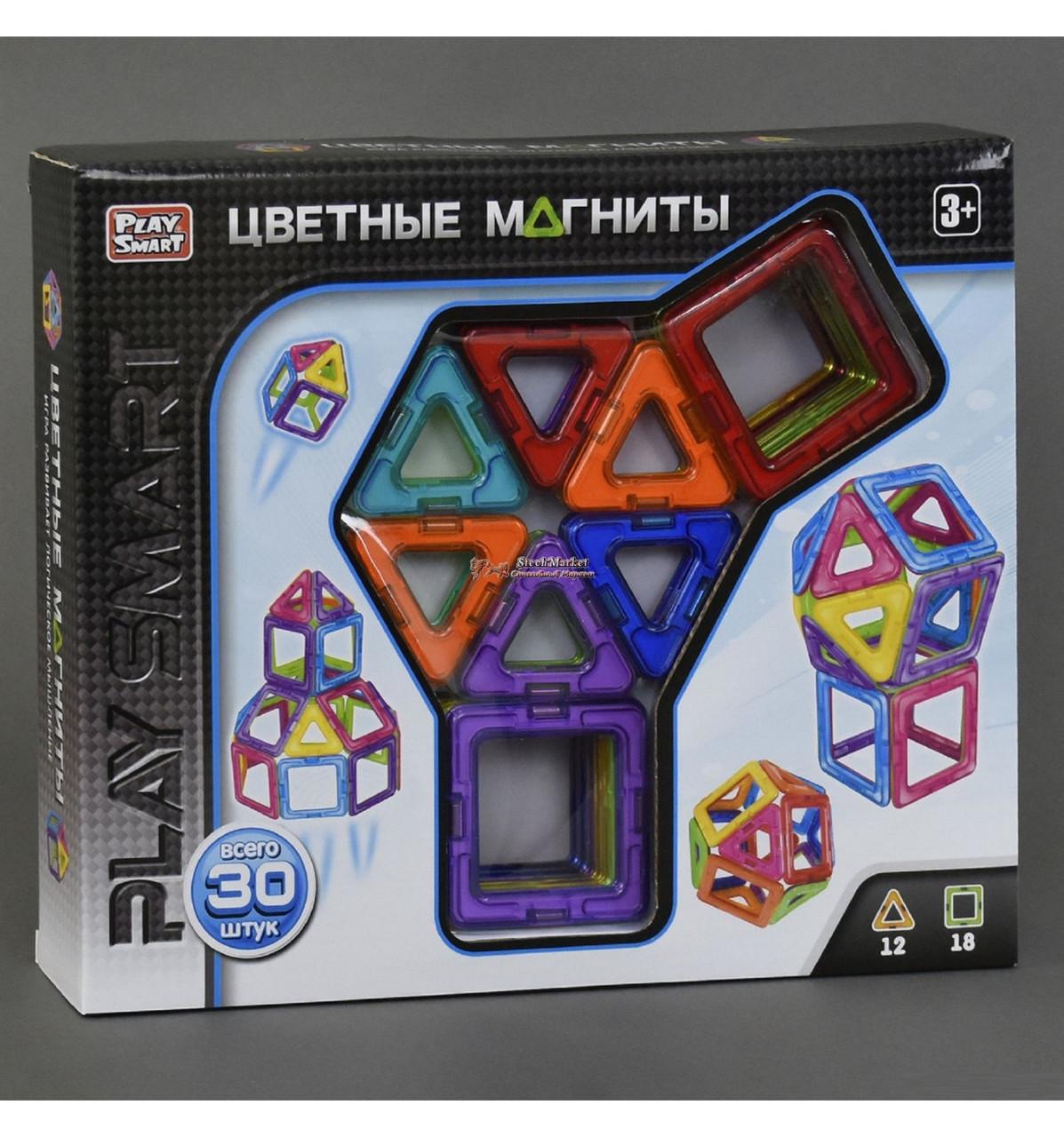 """Конструктор магнитный 2427 (48/2) """"Play Smart"""", 30 деталей, 9 моделей, в коробке"""